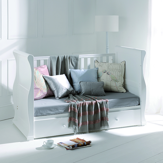 Alaska Sleigh Cot Bed White With Drawer